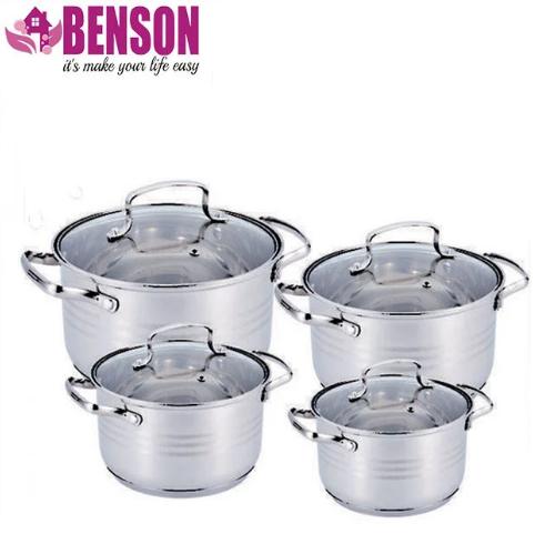 Набір каструль з нержавіючої сталі 8 предметів Benson BN-202 2,1 л, 2,9 л, 3,9 л, 6,5 л