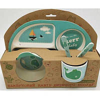 """Посуда детская бамбук """"Кит"""" 5пр/наб (2тарелки, вилка, ложка, чашка) MH-2773-3"""
