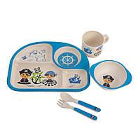 Набор детской посуды из бамбука «Пират» (5 предметов)