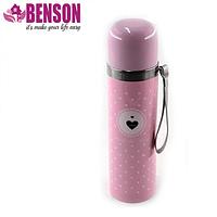 Вакуумный детский металлический термос Benson BN-56 350 мл | Розовый