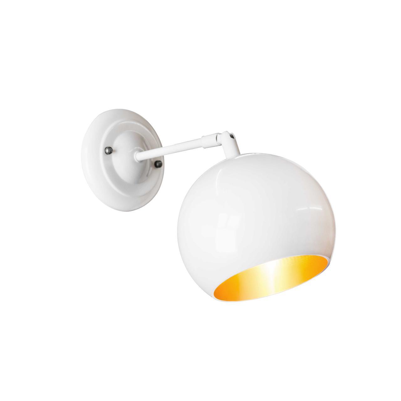 Бра в стилі лофт Msk Electric Куля NL 1512-1WH+GD ширина 150mm світильник настінний кулька