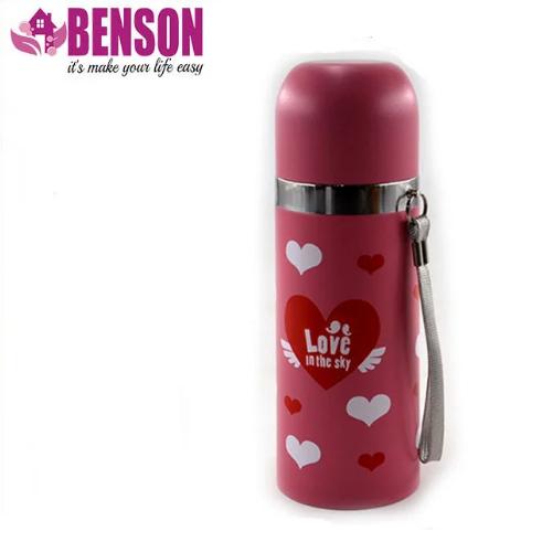 Вакуумный детский металлический термос Benson BN-55 350 мл | Розовый
