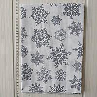 Хлопковая новогодняя ткань Серые снежинки на белом фоне 40*50 см