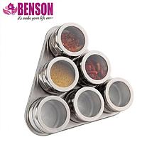Набор баночек для специй и приправ на магнитной подставке Benson BN-006 из 6 сосудов