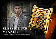 Часы мужские наручные прямоугольные механические Winner Skeleton New Gold.