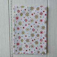 Хлопковая новогодняя ткань Красные и золотые снежинки на белом фоне 40*50 см, фото 1