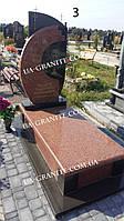 Закрытый мужской памятник из красного гранита