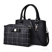 Вместительная женская сумка в наборе 2в1 черного цвета опт, фото 1