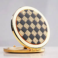 Зеркальце женское косметическое - Клетка золотистое , 7 см.
