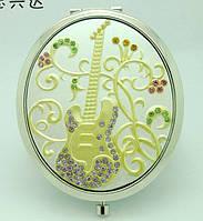 Зеркальце Косметическое ювелирное Гитара, Овал 7 х 6 см.