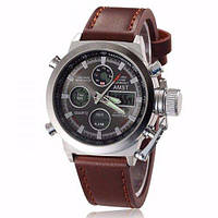 Кварцевые армейские наручные часы Amst watch AM3022 коричневые 130447