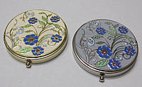 Зеркальце Косметическое ювелирное Синие цветы, 7 см.