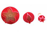 Плунжер кондитерский цветок, листик и звездочка