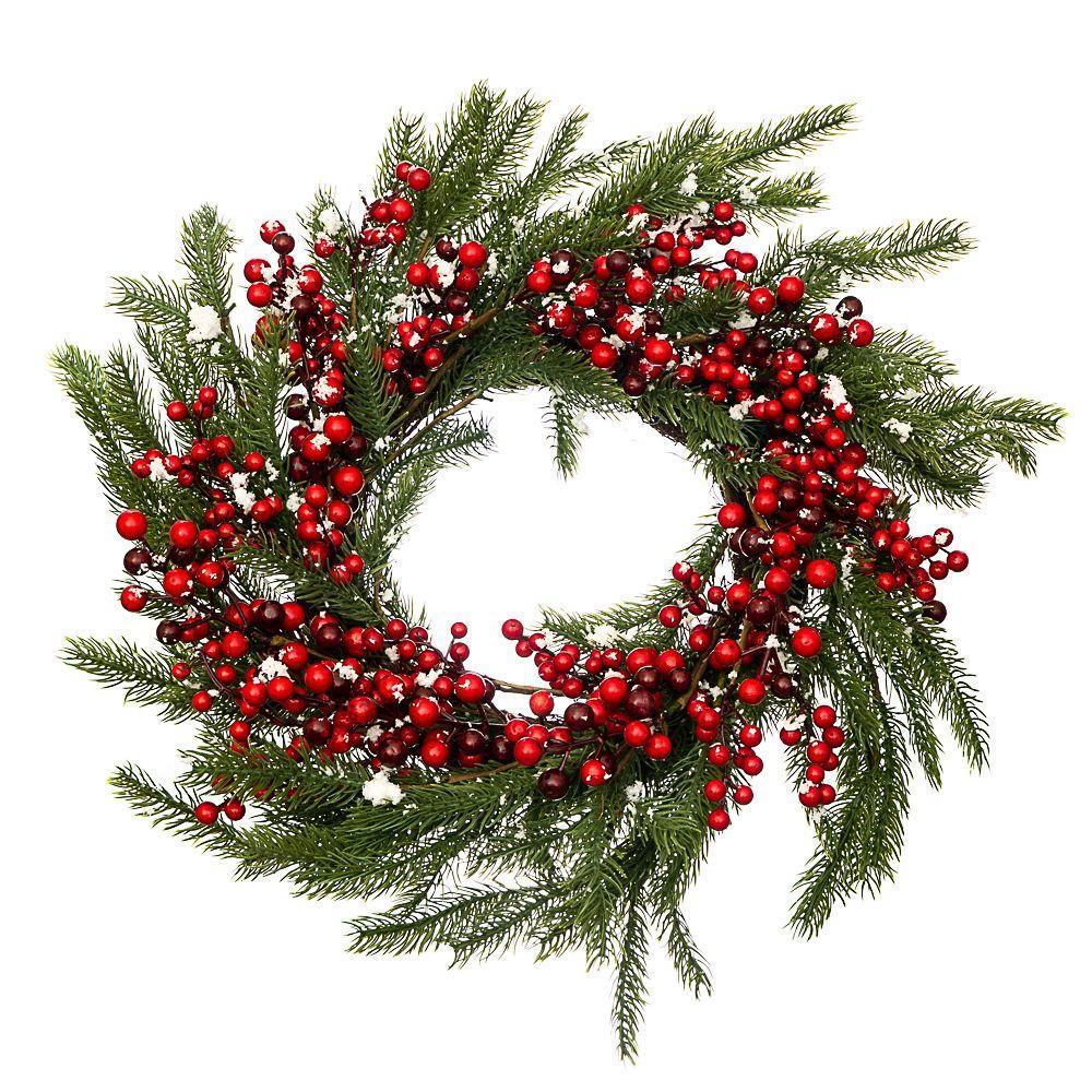 Венок новогодний рождественский Еловый ягодный 001NF на двери на стену