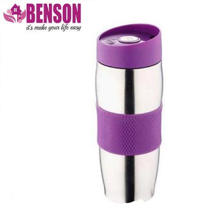 Термокружка металлическая с поилкой Benson BN-40 380 мл | Фиолетовая, фото 2