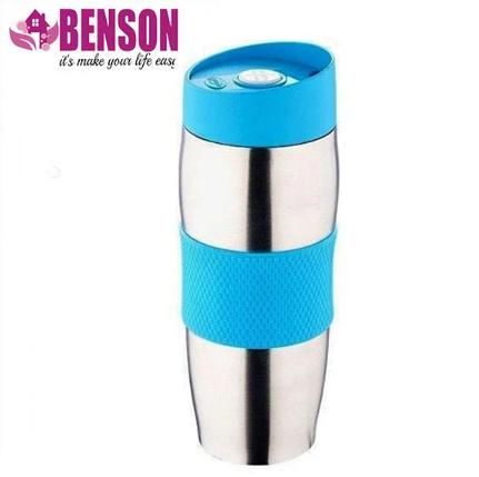 Термокружка металева з поїлкою Benson BN-40 380 мл | Блакитна, фото 2