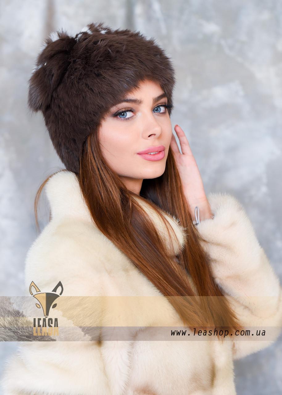 Женская шапка из меха кролика, цвет какао