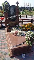Комбінований чоловічий памятник на могилу з червоного граніту