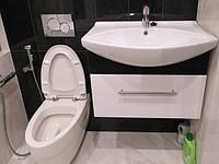 тумба в ванную подвесная черно-белая