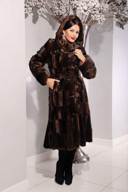 Элегантная длииная женская шуба  из эко меха коричневая норка с 42 по 46 размер