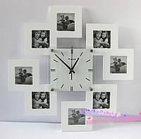 Часы с фоторамками 4 (розовый, чёрный, белый), 45*45 см.