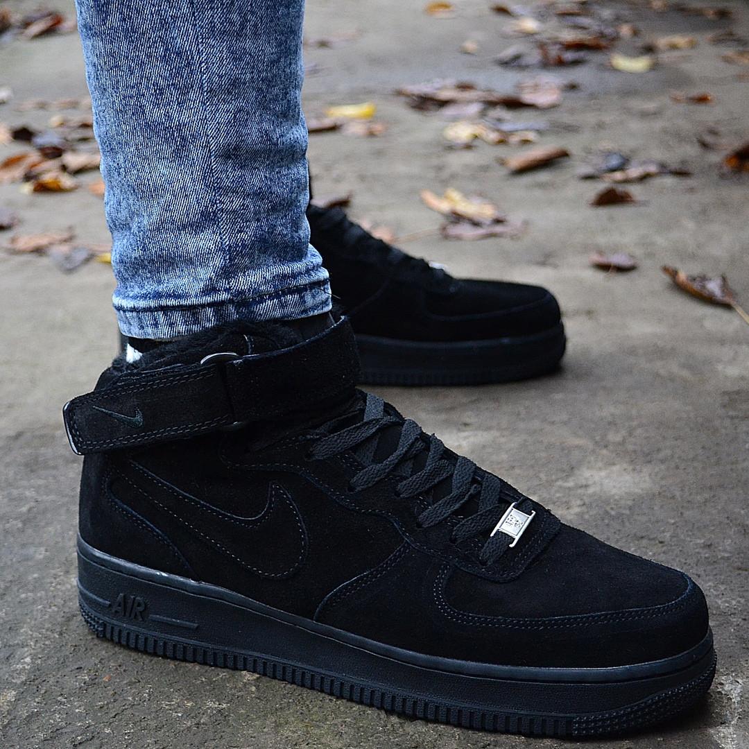 """Зимние кроссовки на меху Nike Air Force High Winter """"Черные"""""""