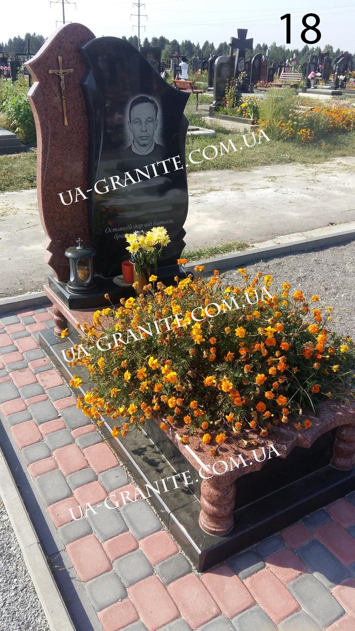 Комбінований чоловічий пам'ятник на цвинтар