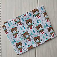 Детская новогодняя ткань Мишки 50*50 см