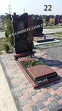 Комбинированный памятник на кладбище из красного гранита
