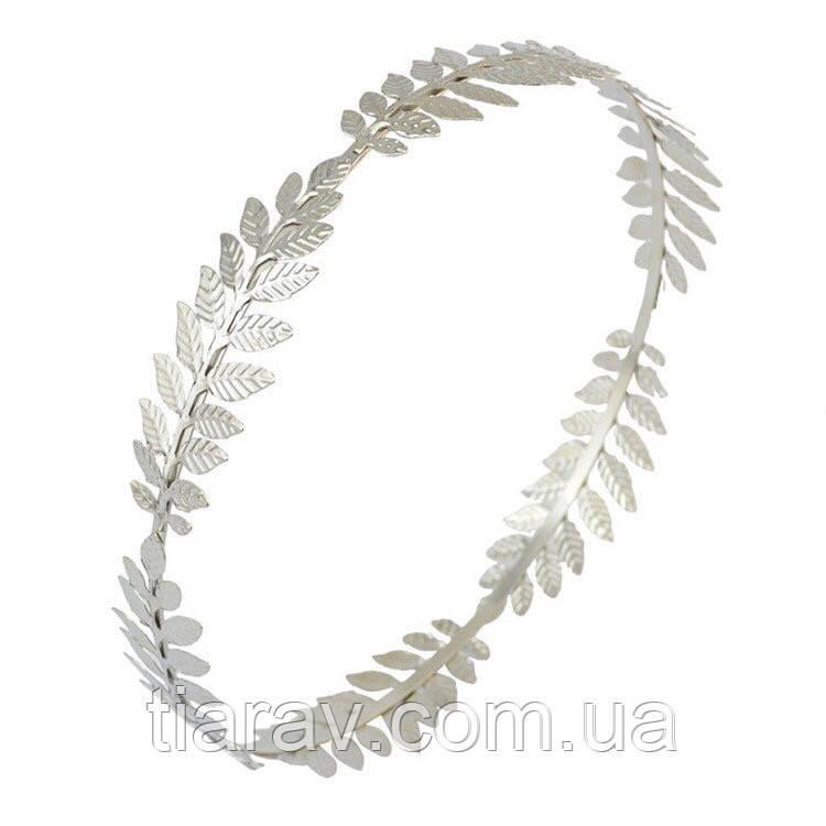 Тіара кругла корона лавр ОЛІМП срібло для волосся вінок лавровий прикраса