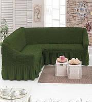 Чехол на угловой диван с юбкой Зеленый Home Collection Evibu Турция 50088