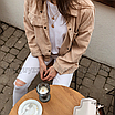 Рубашка женская вельветовая  удлиненная оверсайз бежевая, фото 3