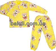 Детская тёплая пижама рост 116 (5-6 лет) махра жёлтый на мальчика/девочку для детей Ж-841