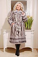 Модная женская шуба  из эко меха серая норка с 44 по 58 размер