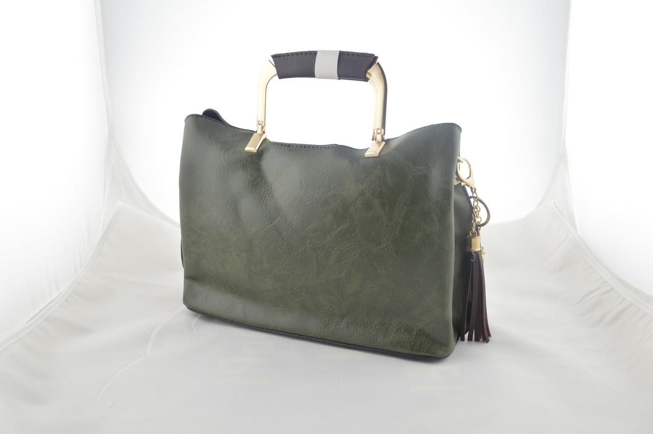 Женская зеленая сумка из эко кожи