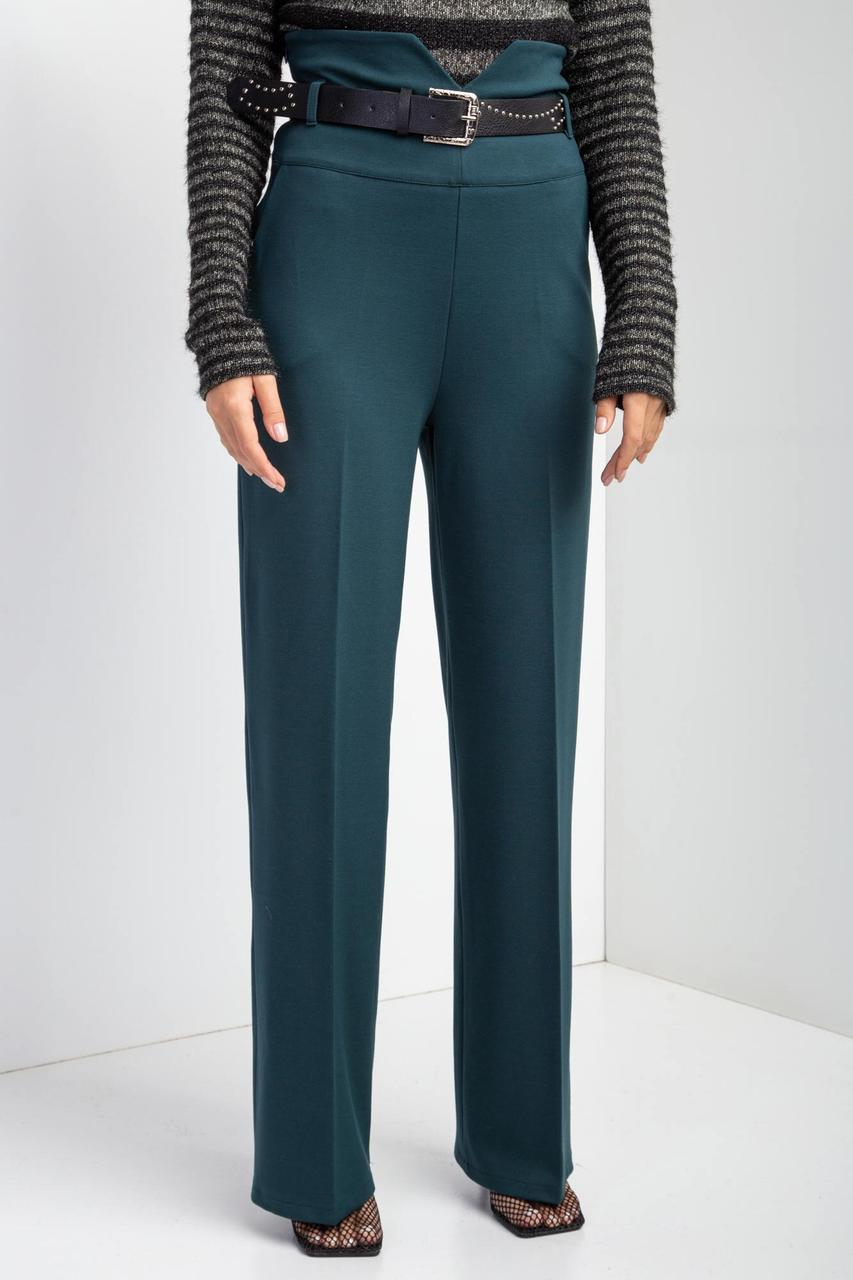 Классические трикотажные брюки JEANNE зеленого цвета с завышенной талией и стрелками