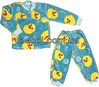 Детская тёплая пижама рост 86 (1 год-1,5 года) махра бирюзовый на мальчика/девочку для малышей Б-841