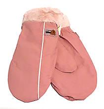 Рукавиці з плащової тканини S підкладка махра рожево-кораловий