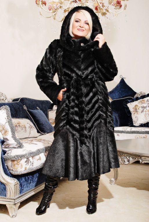 Роскошная женская длинная шуба из эко меха чёрная норка с 44 по 58 размер
