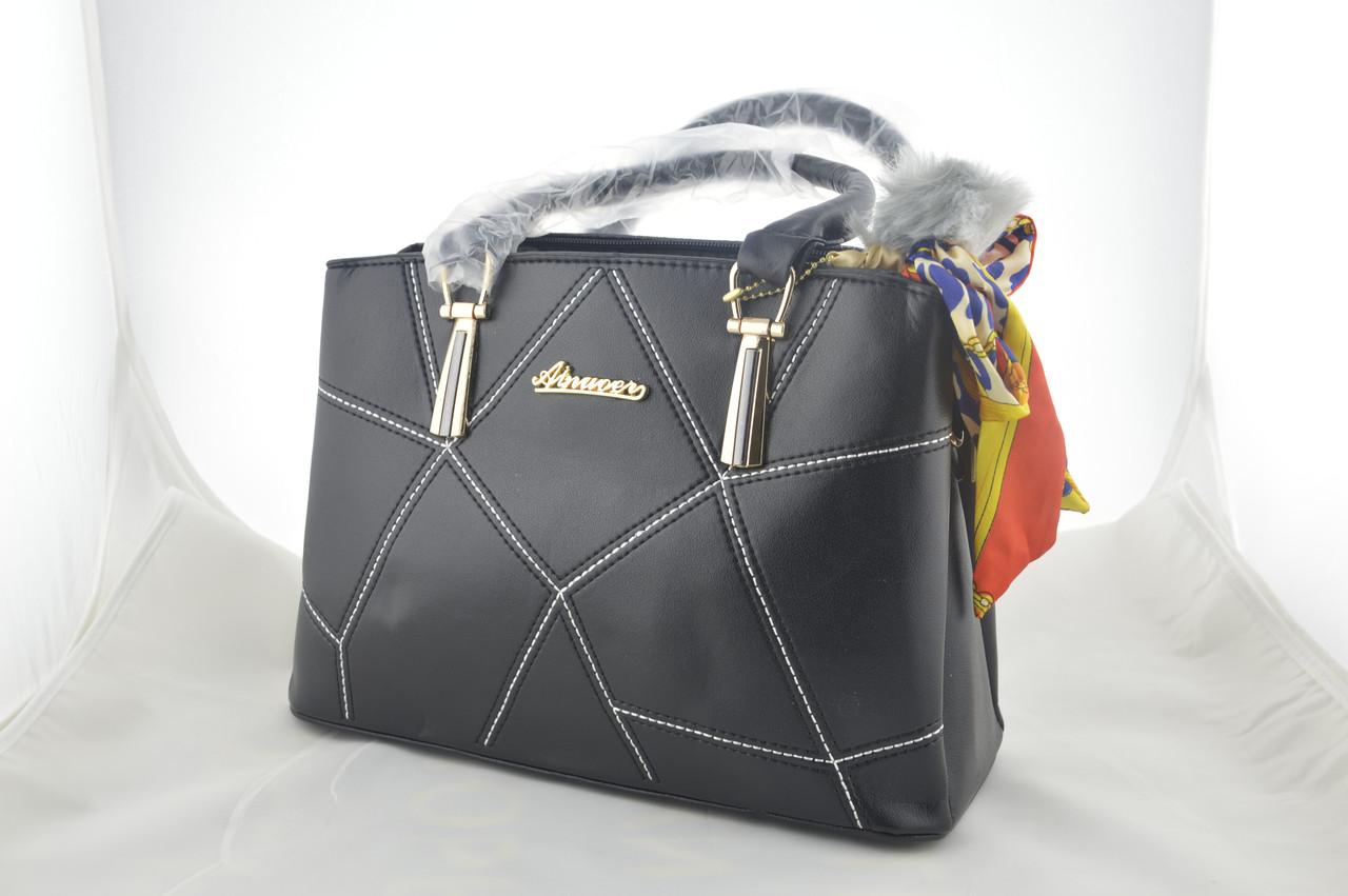 Стильная черная женская сумка эко кожа держит форму, фото 1