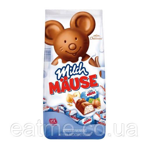 Chateau Milch Mause Конфеты из молочного шоколада в виде мышек со сливочной начинкой и дроблённым фундуком
