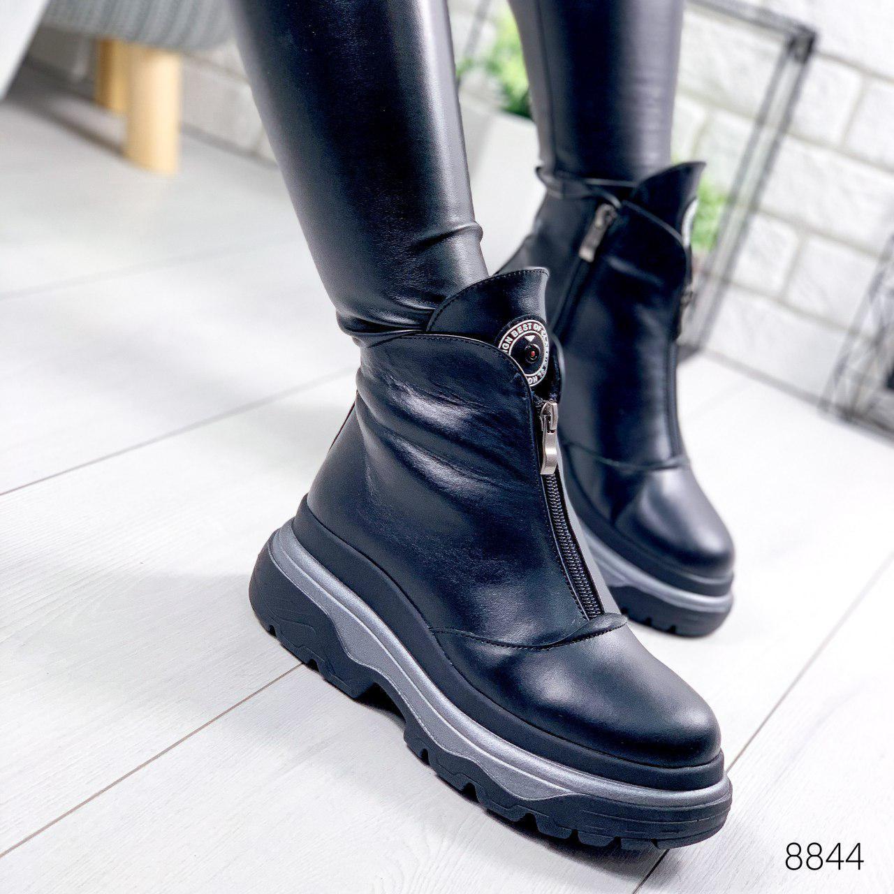 """Черевики жіночі зимові, чорного кольору з натуральної шкіри """"8844"""". Черевики жіночі. Теплі черевики"""