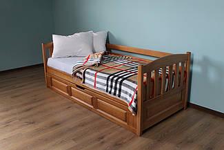 Ліжко дитяче дерев'яне з підйомним механізмом Немо (масив бука)