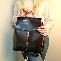 "Женский кожаный рюкзак, сумка для формата А4 ""Алиса Dark Brown"", фото 1"