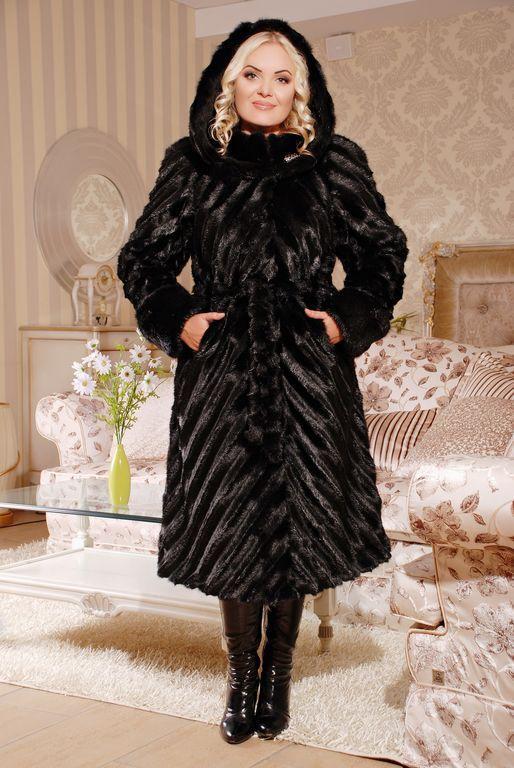 Шикарная женская длинная шуба из эко меха чёрная норка с 44 по 58 размер