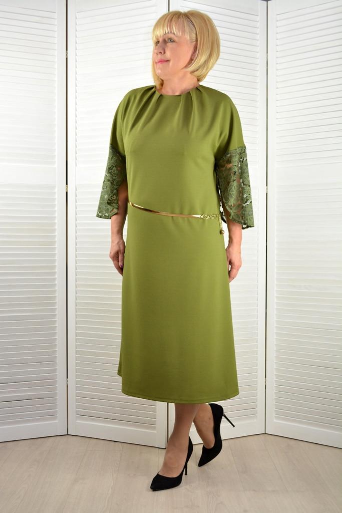 Платье оливковое с кружевными рукавами - Модель Л1э ( 50,52 размеры )