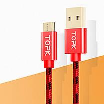 ✰Кабель синхронизации Topk USB (TK09C-VER2) MicroUSB Red 1m 3A нейлоновый быстрая зарядка смартфона планшета, фото 2