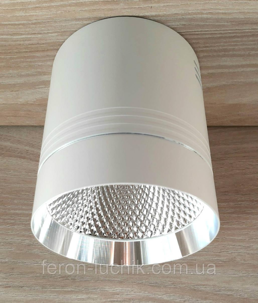 Потолочный светильник LED Feron AL542 18W 4000K 1530Lm точечный накладной светодиодный белый+серебро