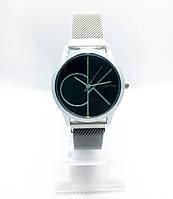Женские наручные часы в стиле Саlvin Кlein (Кельвин Кляйн), серебро с черным циферблатом