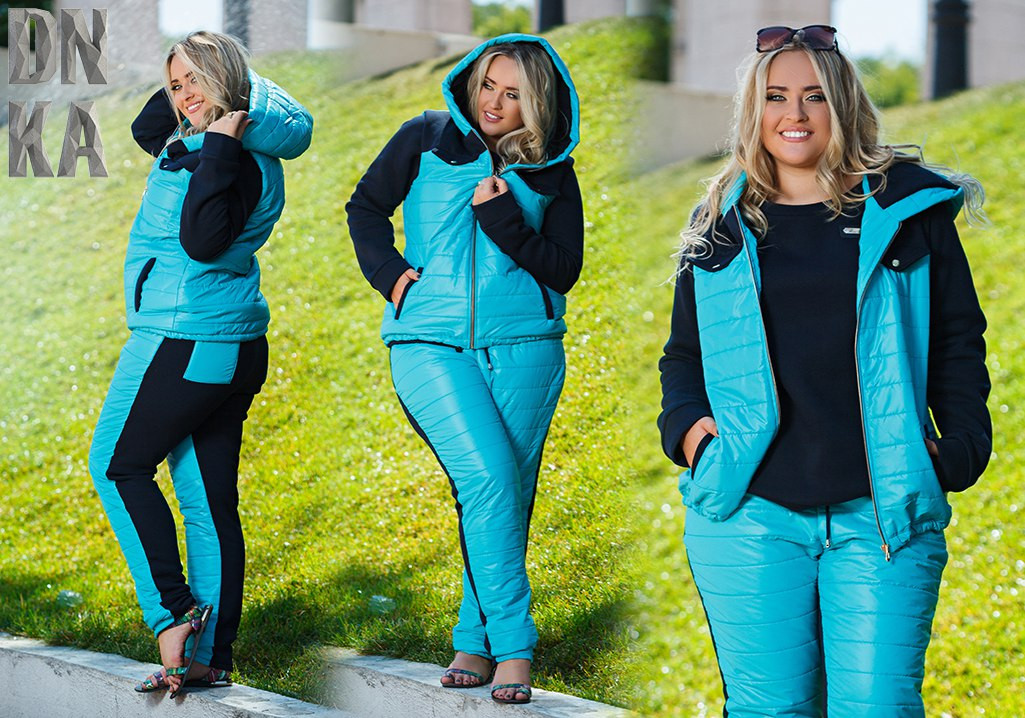 Женский батальный костюм тройка